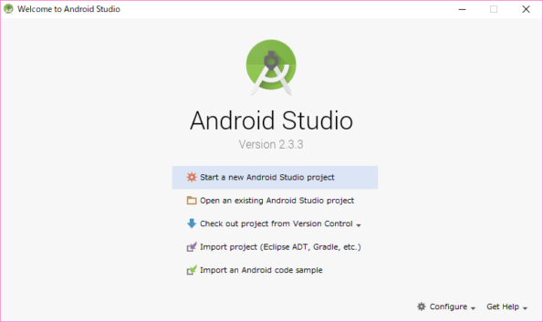 Android Studio起動画面